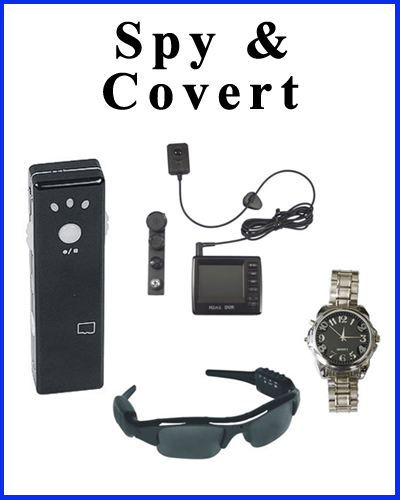 Spy and covert cameras for hidden surveillance and monitoring.